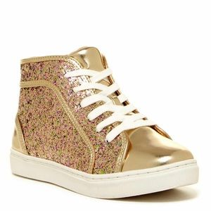 Steve Madden Gold Glitter Mid Top Sneakers Kids 5